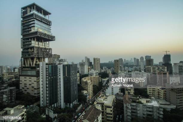 antilia and mumbai skyline - mumbai stock pictures, royalty-free photos & images