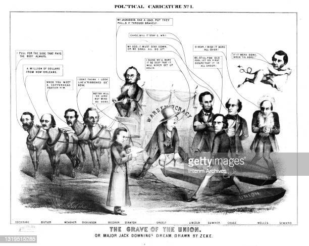 Anti-Lincoln political cartoon titled 'The Grave of the Union' or 'Major Jack Downing's Dream' showing Abraham Lincoln and various supporters in the...