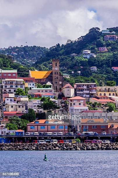 Antilles, Lesser Antilles, Grenada, view to St. Georges from sailing ship