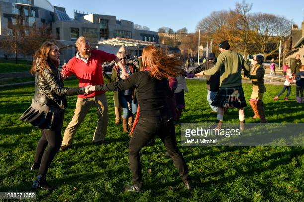 Anti-lockdown protestors hold a demonstration Ceilidh outside the Scottish Parliament on November 28, 2020 in Edinburgh, Scotland. The group, known...