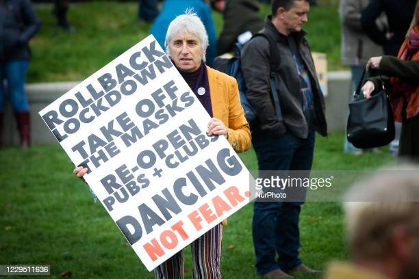 """Anti-mask and Covid-hoax group """"Saving Scotland"""" protest outside of the Scottish Parliament on November 07, 2020 in Edinburgh, Scotland...."""