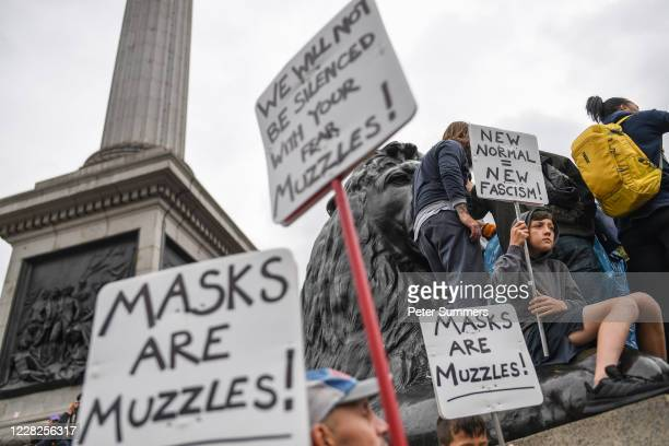 Anti-mask protesters participate in the Unite for Freedom protest in Trafalgar Sq on August 29, 2020 in London, England. Speakers, including Jeremy...