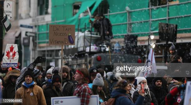 Anti-maskers and Anti-lockdown protesters gather at Yonge-Dundas Square to protest the increased provincial restrictions to prevent the spread of...