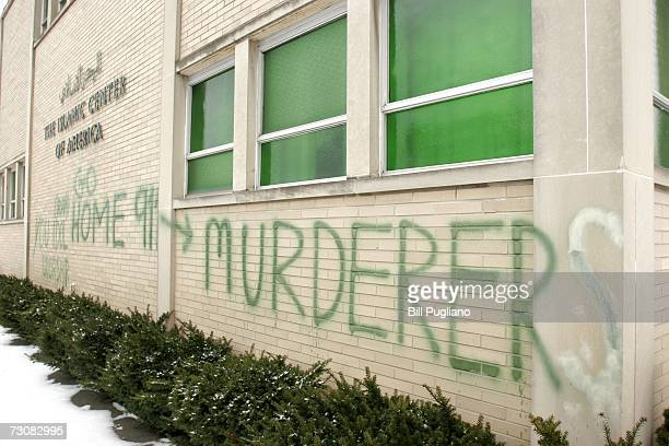 AntiMuslim graffiti defaces a shi'ite mosque at the Islamic Center of America January 23 2007 in Dearborn Michigan Vandals defaced the mosque on...