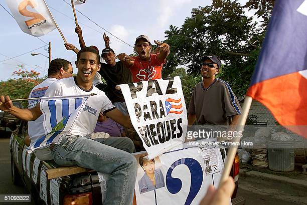 AntiNavy Followers Rally On The Issue Of The Us Navy Bombing Of Vieques July 28 2001 In Vieques Puerto Rico The NonBinding Referendum Is July 29Th...
