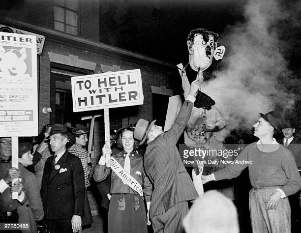 AntiNazi protestors burn an effigy of Hitler during a demonstration in Union City NJ where Nazis were attempting to hold a Bund meeting