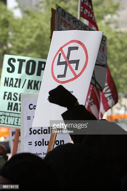 AntineoNazi demonstrators protest a National Socialist Movement rally near City Hall on April 17 2010 in Los Angeles California An NSM antiillegal...