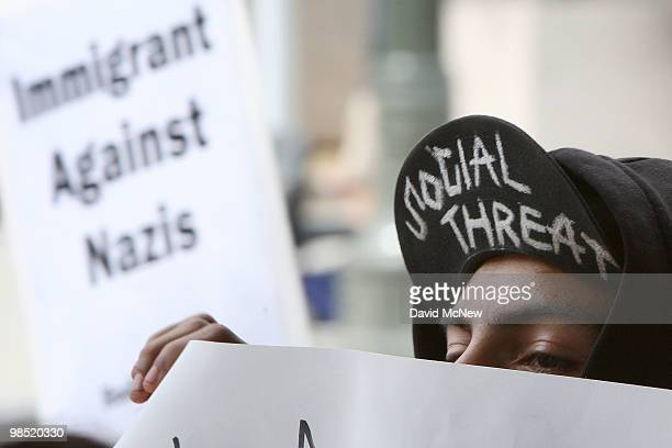 AntineoNazi demonstrators protest during a National Socialist Movement rally near City Hall on April 17 2010 in Los Angeles California An NSM...