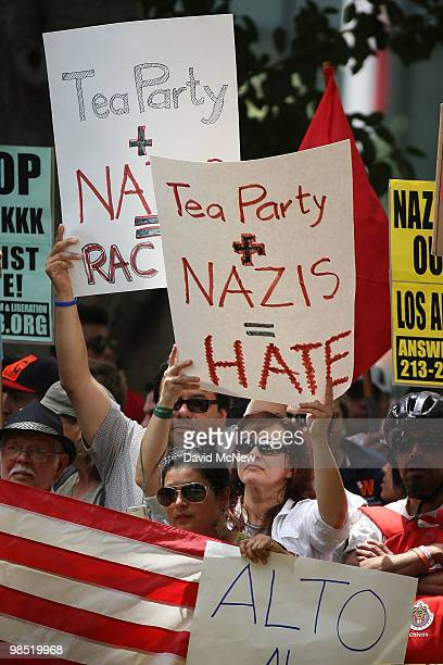 AntineoNazi demonstrators protest Nazis and Tea Party during a National Socialist Movement rally near City Hall on April 17 2010 in Los Angeles...