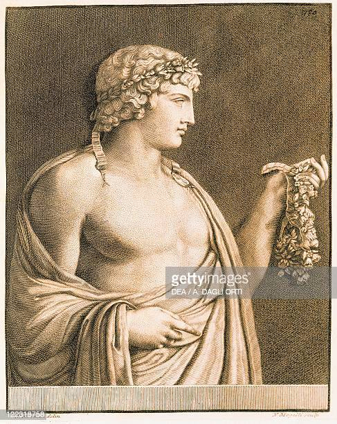 Antinous from Unpublished Monuments of Antiquity by Johann Joachim Winckelmann after a basrelief of Villa Albani in Rome engraving 1767