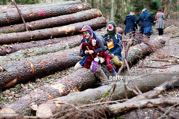 Antinuclear activists sit on a tree trunk close to the railtracks that will be used to transport nuclear waste on November 25 2011 in Leitstade near...