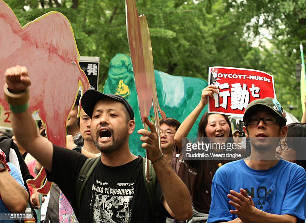 Antinuclear activists take a part at a protest against nuclear energy on June 11 2011 in Osaka Japan The Japanese government has been struggling to...