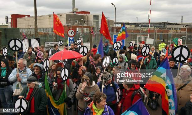 Antinuclear campaigners gather at the Aldermaston Atomic Weapons Establishment on March 24 2008 in Berkshire England 50 years ago 10000 people walked...