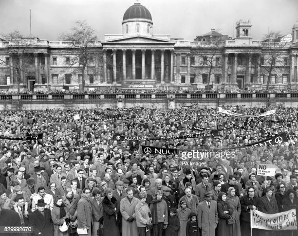 Anti-nuclear protesters gather in their thousands in Trafalgar Square for the start of the 50 mile protest march from London to the Atomic Weapons...