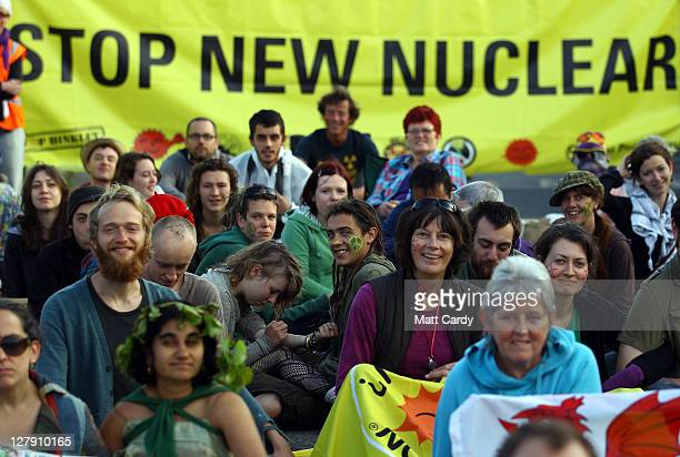 Anti-nuclear protestors gather at the gates of Hinkley Point nuclear power station on October 3, 2011 in Bridgwater, England. Anti-nuclear protestors...