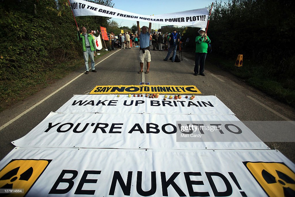 Anti-nuclear protestors gather at the gates of Hinkley Point nuclear power station on October 3, 2011 in Bridgwater, England. Anti-nuclear protestors have blockaded the Somerset power station in reaction to EDF Energy's plans to build two new reactors next to the existing site.
