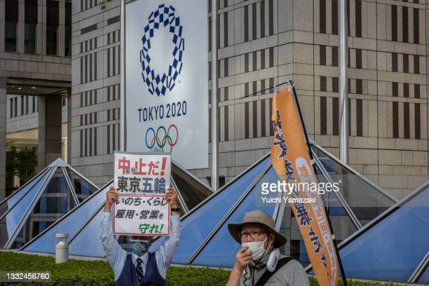 Anti-Olympics protesters demonstrate against the Tokyo Olympic in front of the Tokyo Metropolitan government building on August 05, 2021 in Tokyo,...