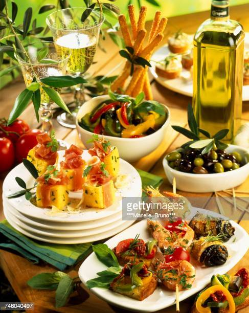 antipasti - olive pimento stock photos and pictures