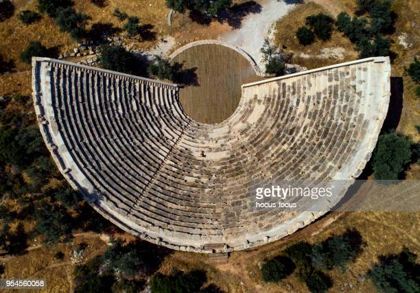 antiphellos ancient theater antalya - amphitheatre stock photos and pictures