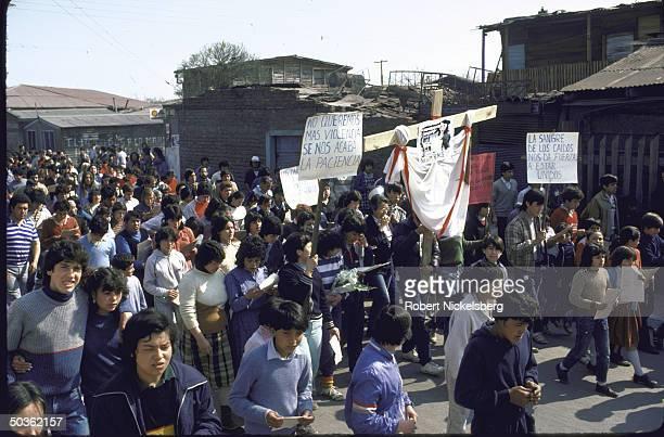 AntiPinochet government/prohuman rights demonstration in La Victoria Chile
