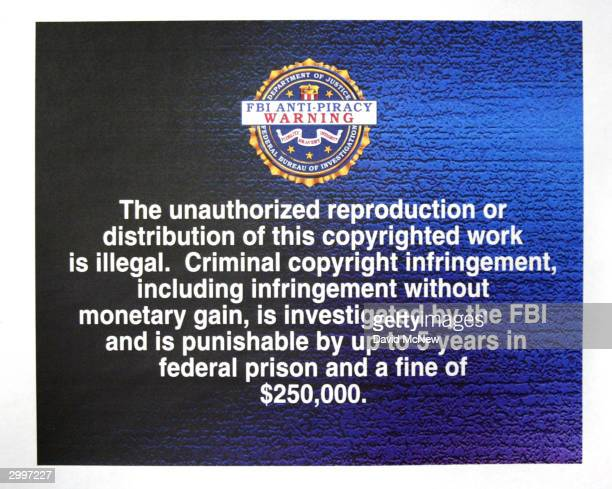 FBI antipiracy warning text to be displayed on digital and software intellectual property is unveiled at a press conference February 19 2004 in Los...