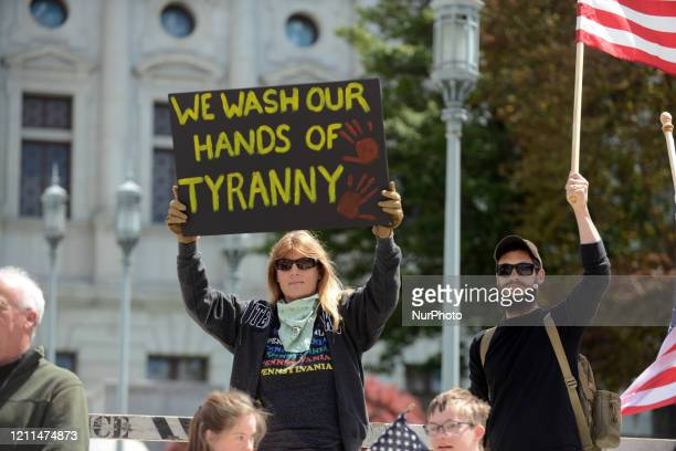 Antiquarantine and pro-Trump protestors took over the steps of the Pennsylvania State Capitol in Harrisburg, Pennsylvania, Friday, 01 May 2020.