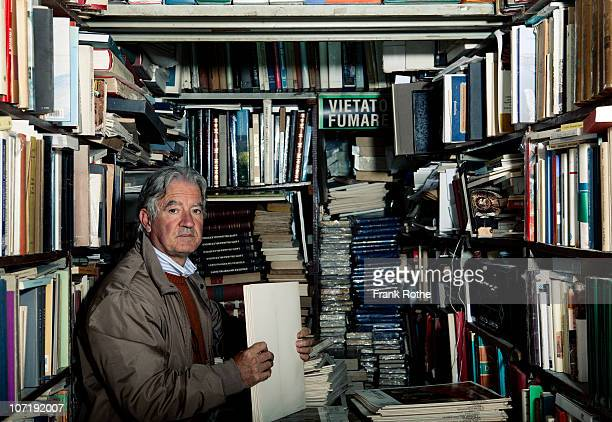 antiquarian bookseller in his little shop