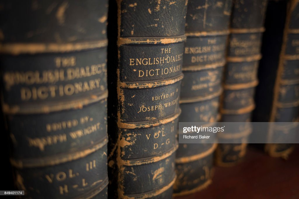 Antiquarian copies of the English Dialect Dictionary line the shelves in the Lee Library of the British Academy, on 17th September 2017, at 10-12 Carlton House Terrace, in London, England. The English Dialect Dictionary (EDD) is a dictionary of English dialects compiled by Joseph Wright (18551930). The English Dialect Dictionary, being the complete vocabulary of all dialect words still in use, or known to have been in use during the last two hundred years; founded on the publications of the English Dialect Society and on a large amount of material never before printed was published by Oxford University Press in 6 volumes between 1898 and 1905. Its compilation and printing was funded privately by Joseph Wright, a self-taught philologist at the University of Oxford.