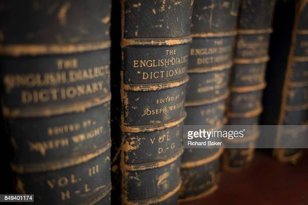Antiquarian copies of the English Dialect Dictionary line the shelves in the Lee Library of the British Academy on 17th September 2017 at 1012...