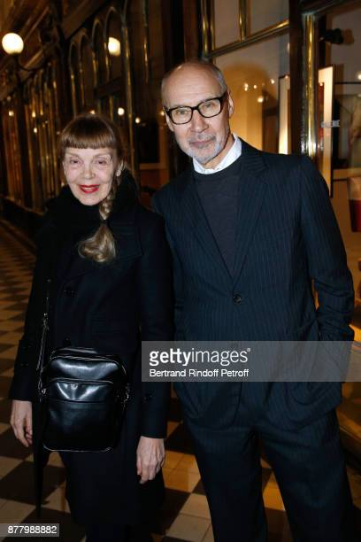 Antiquarians Leonore Philippe and her husband Eric Philippe attend the Ligne Blanche Boutique Opening at Galerie VeroDodat on November 23 2017 in...