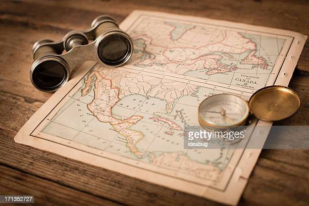 Antique 1870 Map of Canada/Mexico, Binoculars, and Compass