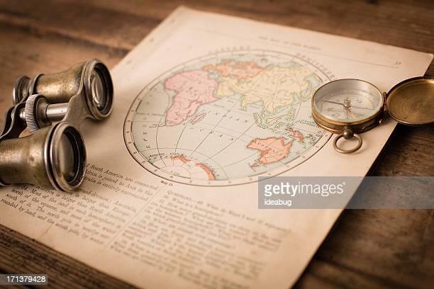 Antique 1870 Map of Eastern Hemisphere, Binoculars, and Compass