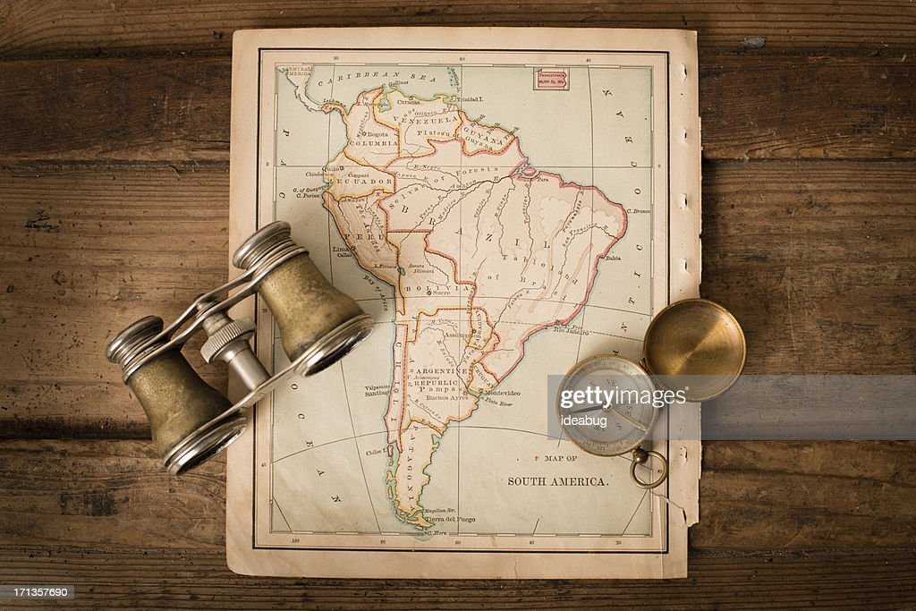 Antique Map Of South America Binoculars And Compass Stock - Antiques us maps with compass