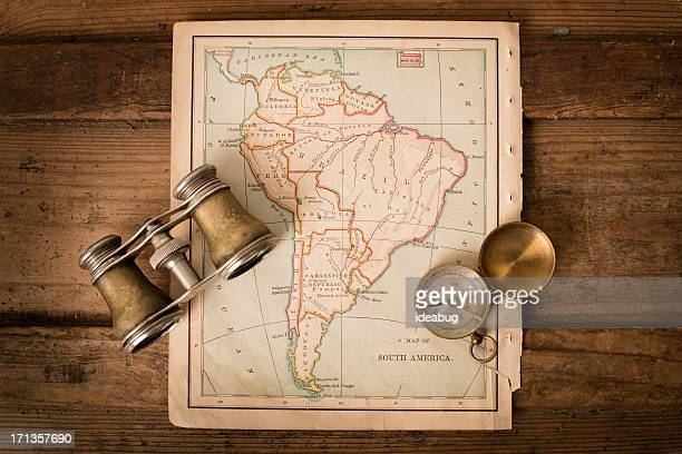 Antique 1870 Map of South America, Binoculars, and Compass