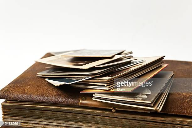 antique album with photographs. - family tree stock pictures, royalty-free photos & images