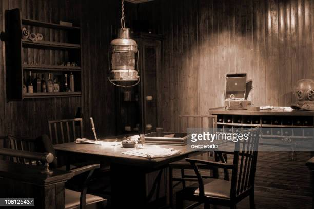 Antique and Rustic Old-Fashioned Office Interior, Toned