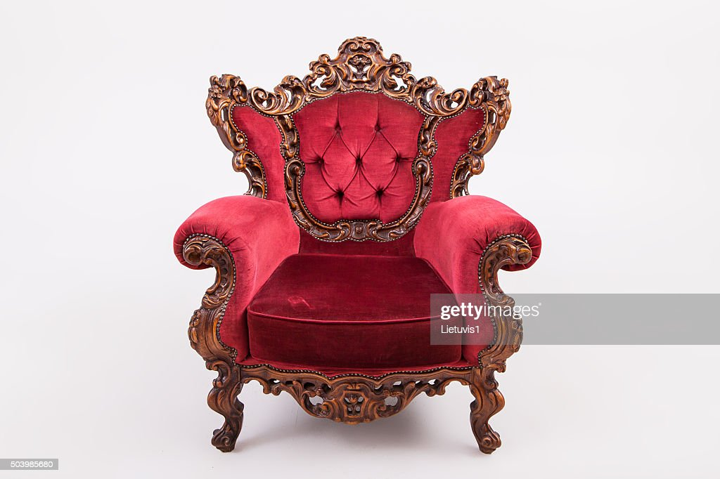 Red Throne · Antique Sofa Against Old Stucco Background · Antique Armchair  Studio Shot ...