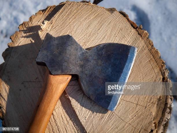 Antique axe with tree stump