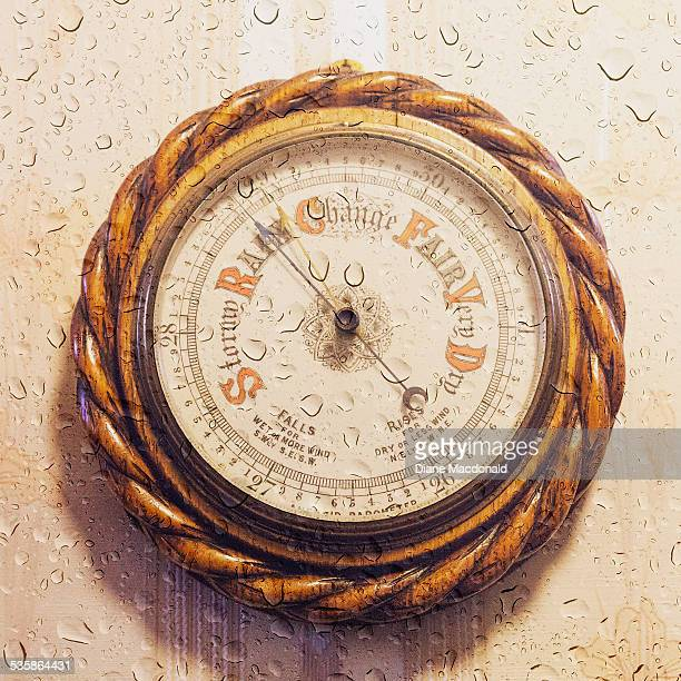 Antique barometer and raindrops