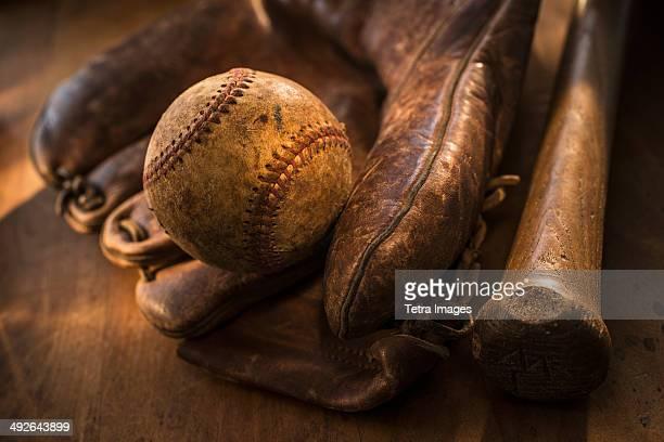 Antique baseball, glove and bat