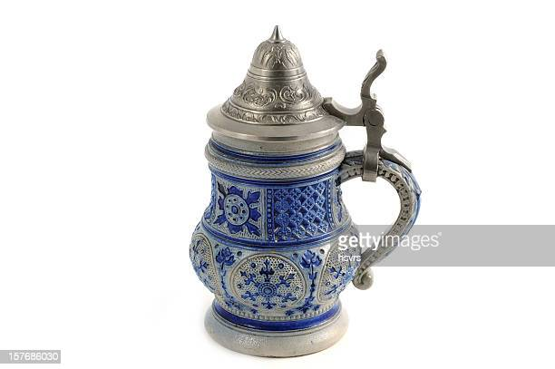 antique beer stein in blue grey with metal cap - beer stein stock photos and pictures