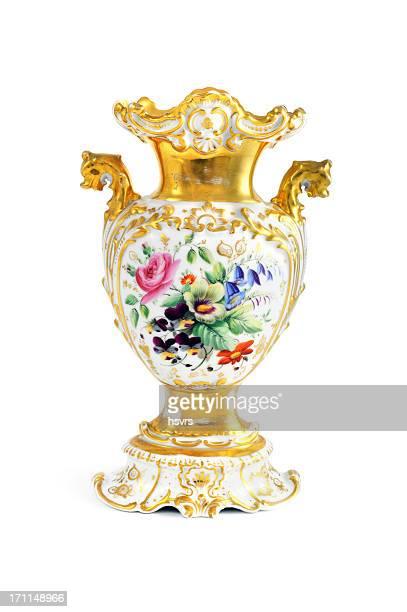antique biedermeier (time 1815-1840) vase with flowers - antiek toestand stockfoto's en -beelden