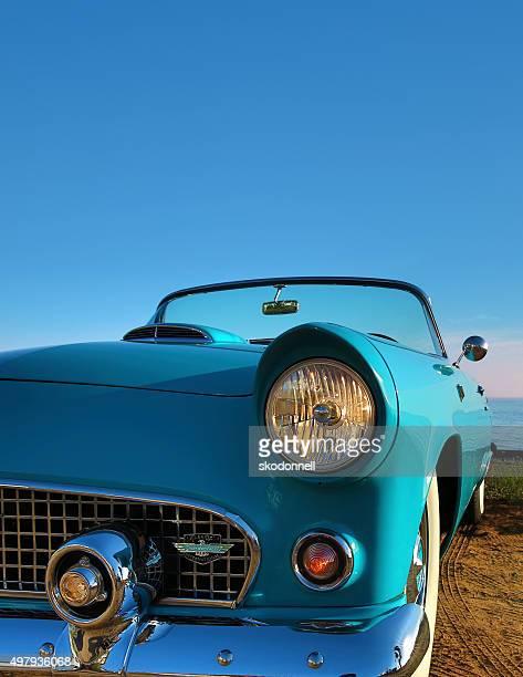 Antique Blue Convertible Ford Thunderbird
