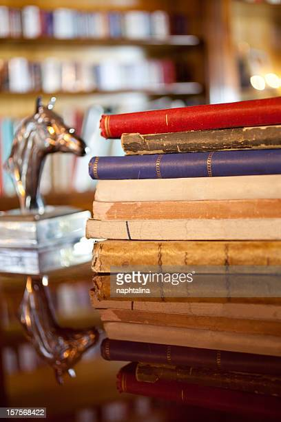 antique books and horse head