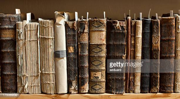antique books in a library - science photo library stock pictures, royalty-free photos & images