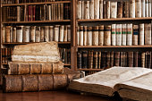 Antique books in a library