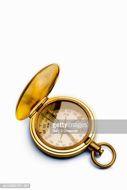 Antique brass compass against white background
