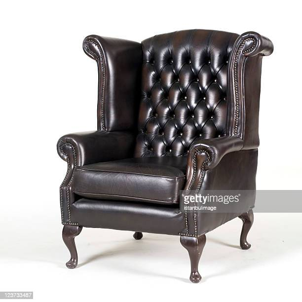 antique brown leather armchair - chair stock pictures, royalty-free photos & images