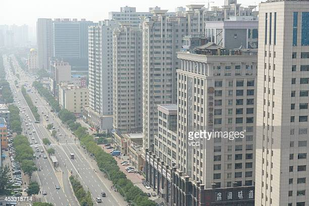 Antique buildings are built on a rooftop of a tall building at Pingyang road on August 7 2014 in Taiyuan Shanxi province of China
