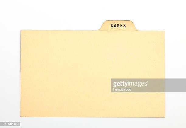 アンティークケーキ指数&伝統的なレシピカード、香ばしい&紙の背景